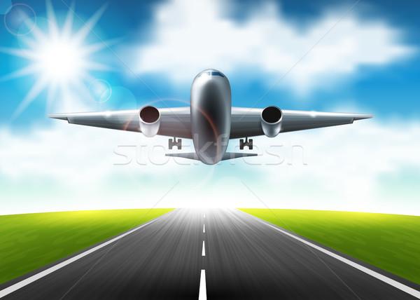 Vliegtuig vliegen landingsbaan wolken vliegtuig vliegen Stockfoto © user_10003441