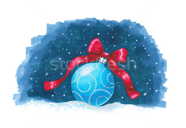 Sketch markers Christmas ball on blue background. Sketch done in Stock photo © user_10003441