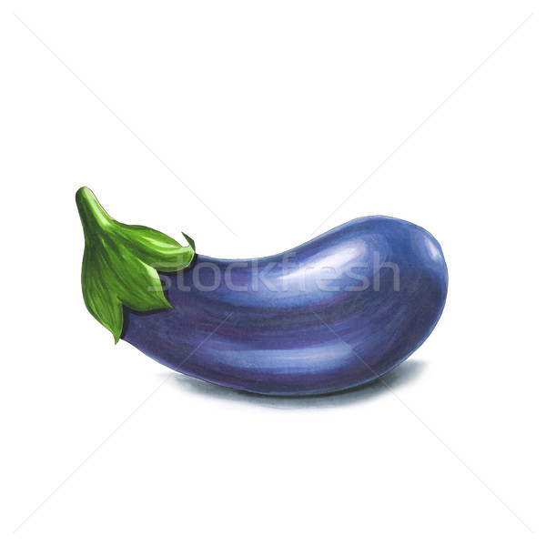 Eggplant on a white background. Sketch done in alcohol markers Stock photo © user_10003441