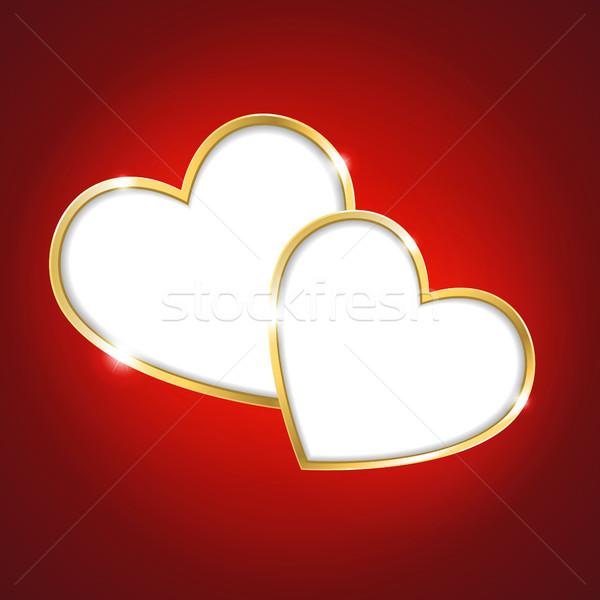 中心 赤 カップル カード 装飾 ベクトル ストックフォト © user_10003441