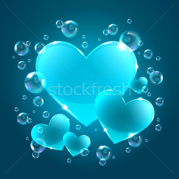 Hearts on the blue background Stock photo © user_10003441