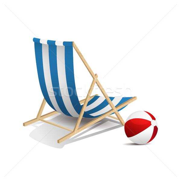 şezlong top yalıtılmış plaj yaz tatil Stok fotoğraf © user_10003441