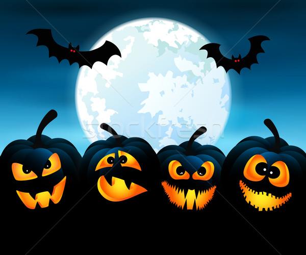 Halloween night with pumpkins Stock photo © user_10003441