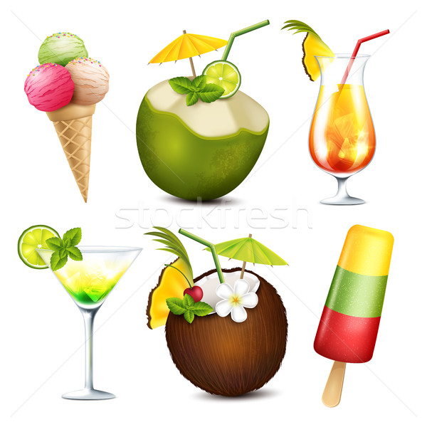 Summer drinks and ice cream Stock photo © user_10003441