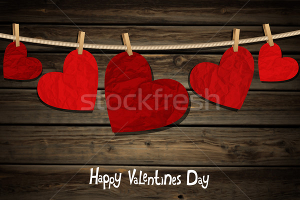 Hearts on a wood background Stock photo © user_10003441