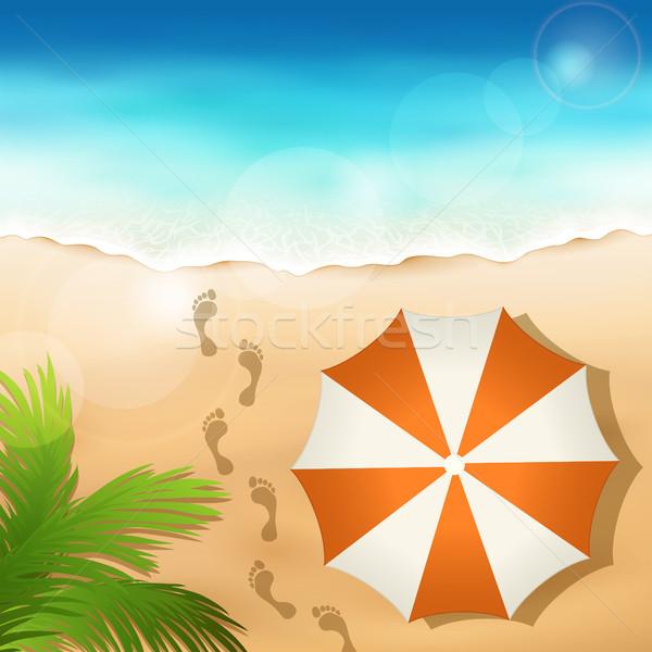 Zandstrand parasol strand water wolken zon Stockfoto © user_10003441