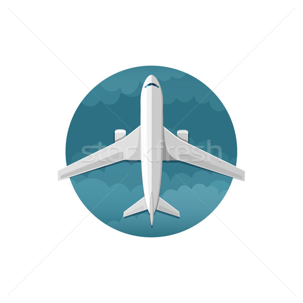 Vector icon of airplane top view Stock photo © user_10003441