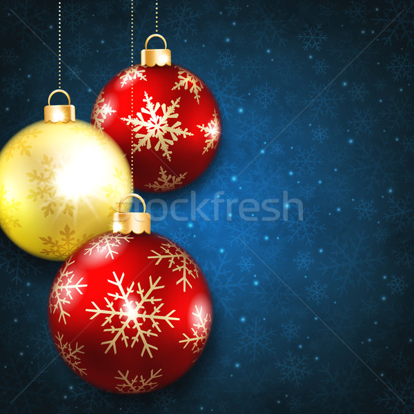 Christmas balls on a blue background Stock photo © user_10003441