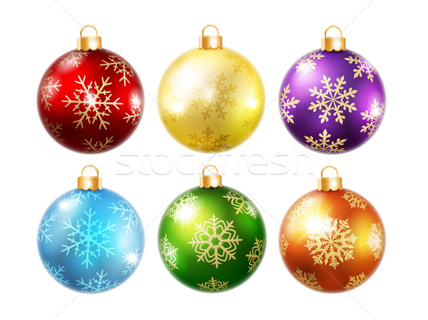 Collection of isolated christmas balls Stock photo © user_10003441