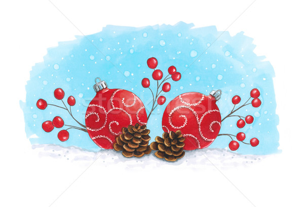 Sketch markers Christmas decoration with fir cones. Sketch done  Stock photo © user_10003441
