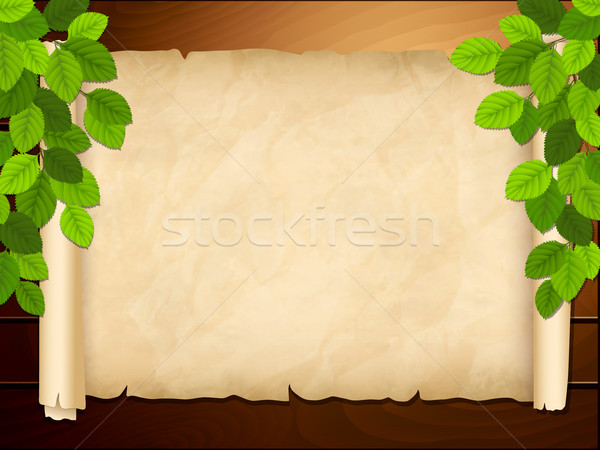 Old paper on the wooden background Stock photo © user_10003441
