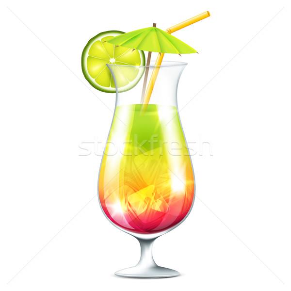 Trópusi koktél fehér buli üveg narancs Stock fotó © user_10003441