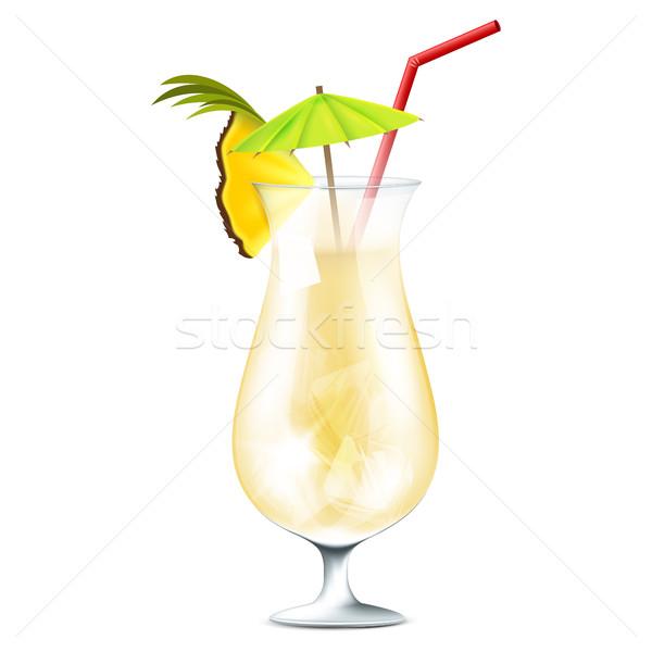 ミルク カクテル パーティ 冷たい パイナップル クリーム ストックフォト © user_10003441