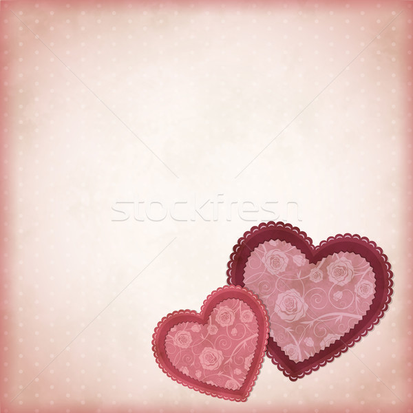 Beautiful hearts on a vintage background Stock photo © user_10003441