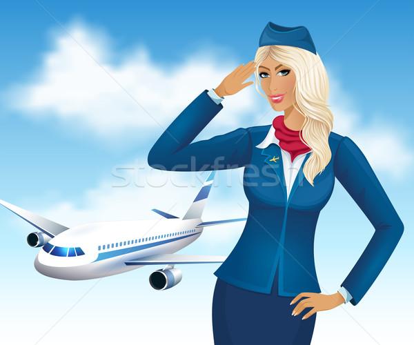スチュワーデス 美しい 飛行機 作業 平面 作業 ストックフォト © user_10003441