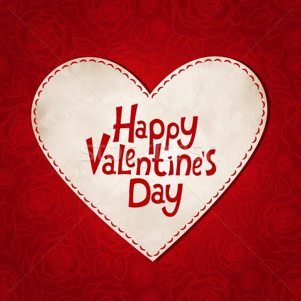 赤 フローラル 日 バレンタイン ヴィンテージ 中心 ストックフォト © user_10003441