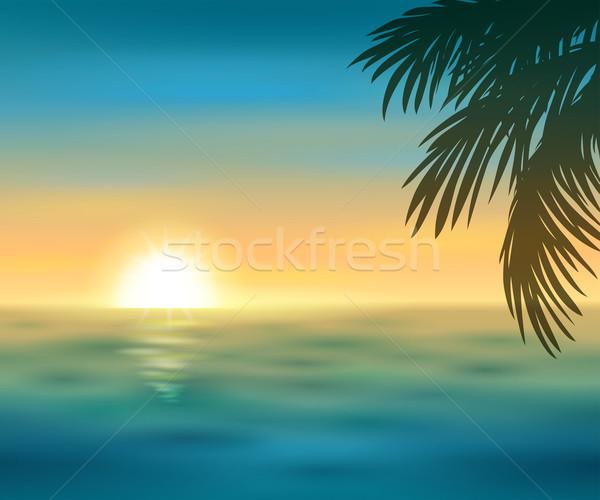 日没 美しい 海 ビーチ 空 太陽 ストックフォト © user_10003441