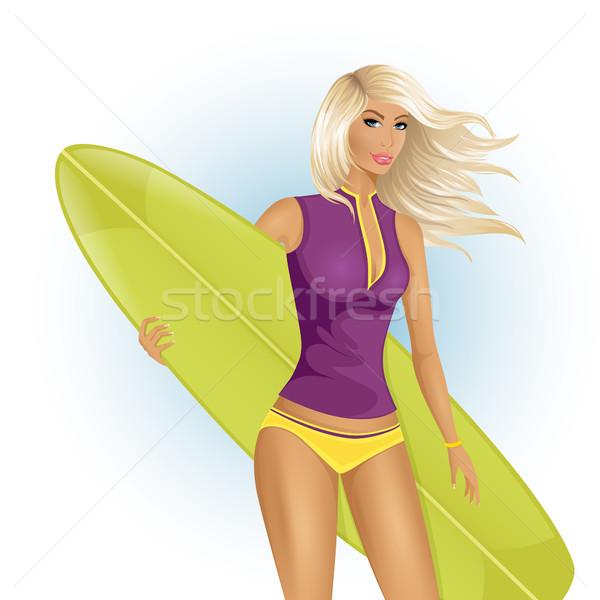 Surfen meisje boord witte lichaam Stockfoto © user_10003441