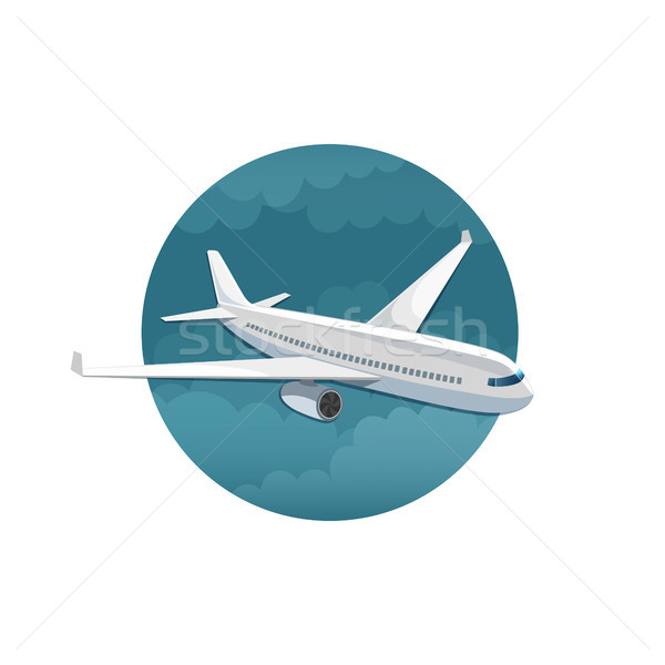 Stock photo: Vector icon of airplane side view