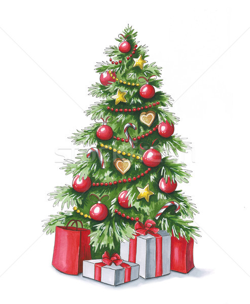 Sketch markers Christmas tree with gifts. Sketch done in alcohol Stock photo © user_10003441