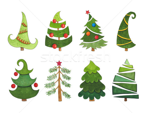 Sketch markers collection of Christmas trees on a white backgrou Stock photo © user_10003441