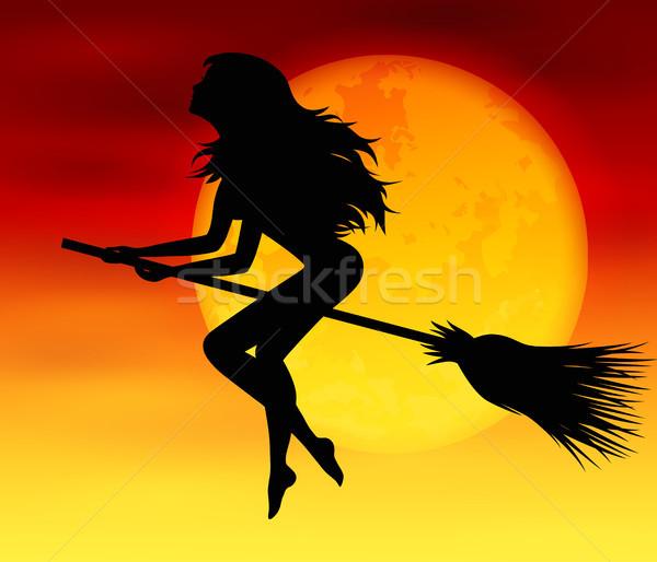 魔女 月 ハロウィン 飛行 満月 女性 ストックフォト © user_10003441