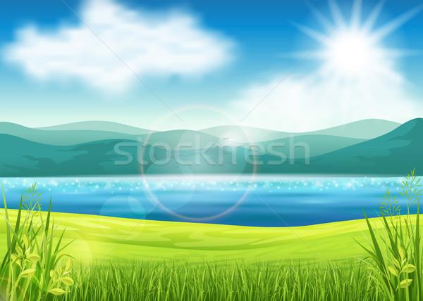 美しい 夏 表示 空 草 自然 ストックフォト © user_10003441