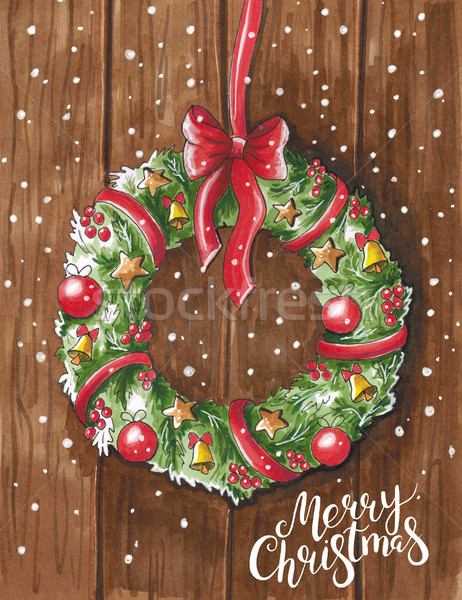 Sketch markers Christmas wreath on wooden door. Sketch done in a Stock photo © user_10003441