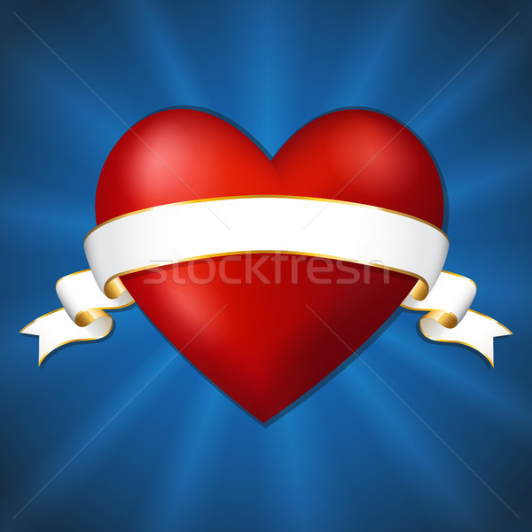 Heart with a ribbon on a dark blue background Stock photo © user_10003441