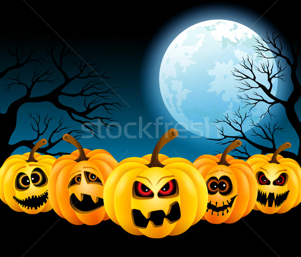 Halloween pompoenen volle maan grappig maan nacht Stockfoto © user_10003441