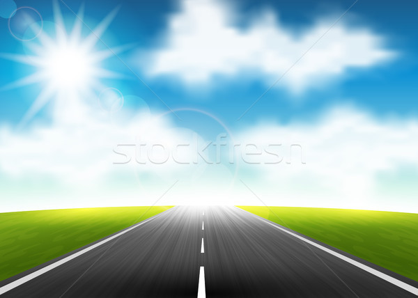 Autostrada orizzonte nubi erba sole campo Foto d'archivio © user_10003441