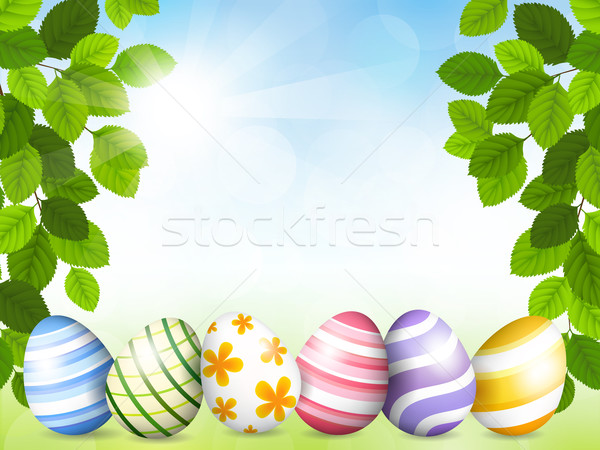 Card by Easter with beautiful eggs Stock photo © user_10003441