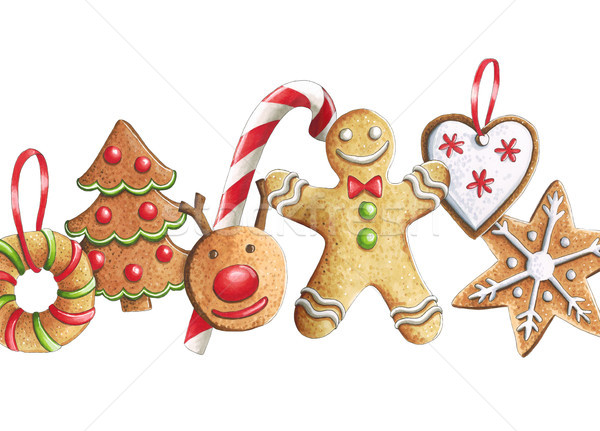 Sketch markers Christmas cookies on a white background. Sketch d Stock photo © user_10003441