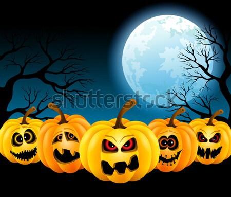 Dolunay halloween komik ay gece Stok fotoğraf © user_10003441