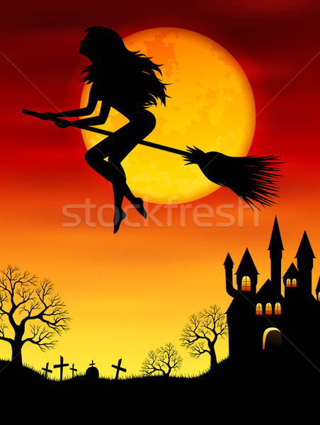 Witch flying on a broomstick Stock photo © user_10003441