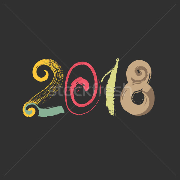 2018. Happy New Year of the Dog. Textured number. Creative sloppy design with stains, daubs. Grunge  Stock photo © user_10144511