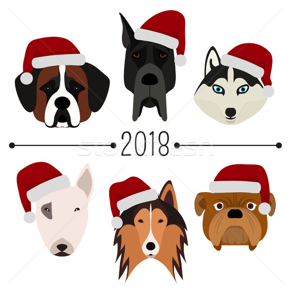 2018. Happy New Year. Set of 6 dog's head with santa claus cap. Flat design. Pets. Cute doggies. Car Stock photo © user_10144511