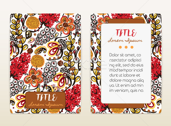 Cover design with floral pattern. Hand drawn creative flowers. Colorful artistic background with blo Stock photo © user_10144511