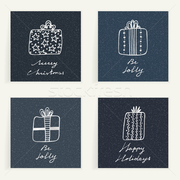 Set of four cards. Hand drawn gifts on blue textured backgrouns. Winter holidays. Christmas presents Stock photo © user_10144511