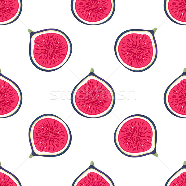 Seamless pattern with halves figs. Healthy dessert. Fruity repeating background. Hand drawn fruits.  Stock photo © user_10144511