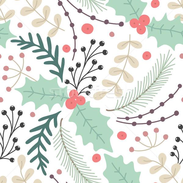 フローラル 手描き ハーブ 陽気な クリスマス ストックフォト © user_10144511