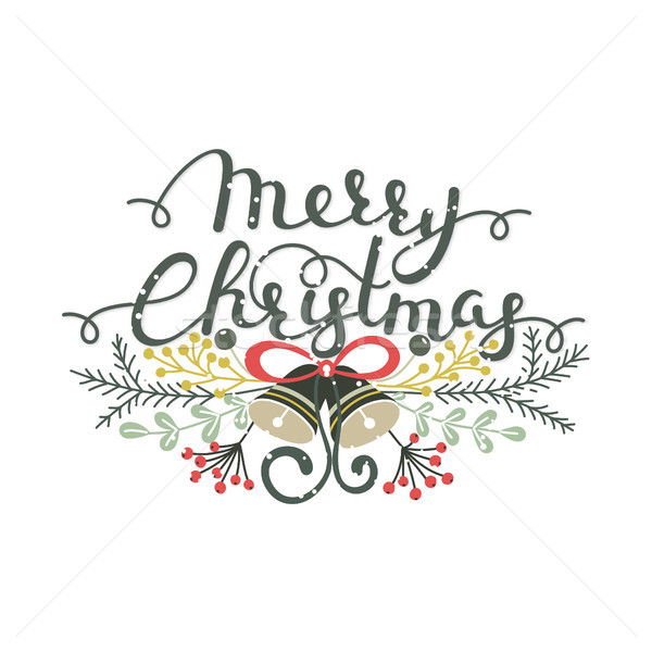 Alegre Navidad dibujado a mano hierbas caligrafía Foto stock © user_10144511