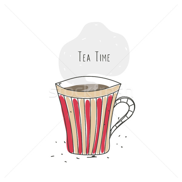 Tea time. Striped cup with hot drink. Line design. Doodle. Poster, logo, emblem, icon for cafe or re Stock photo © user_10144511