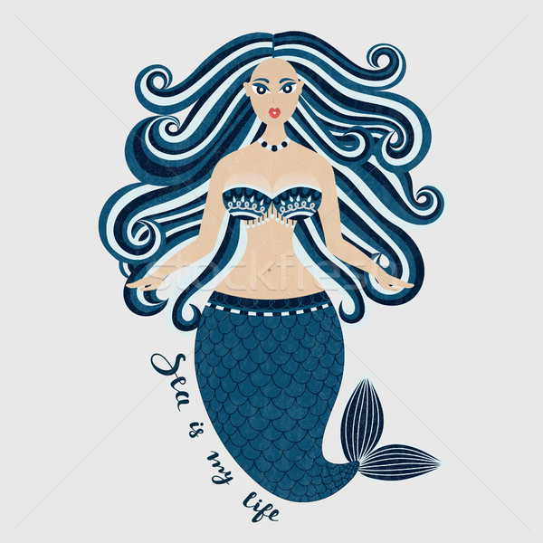Mermaid. Hand drawn sea girl. Beautiful woman with tail. Marine summer design. Nixie with wild hair. Stock photo © user_10144511