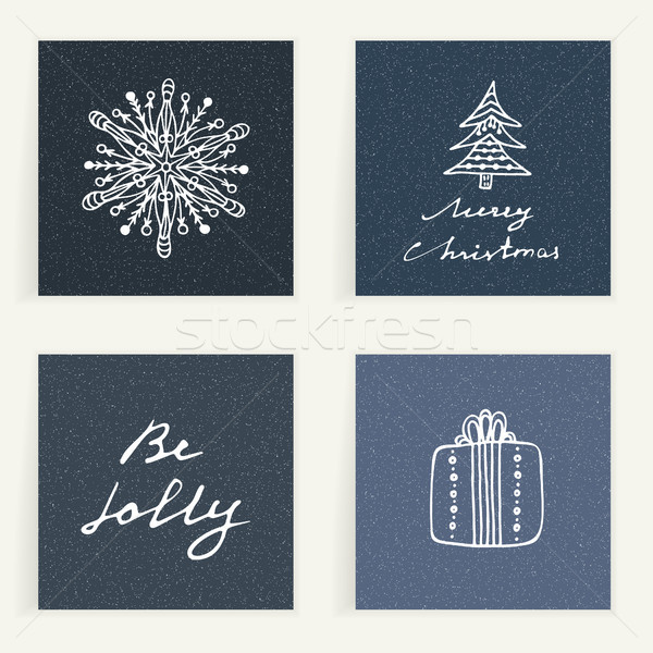 Stock photo: Set of four cards. Hand drawn gift, snowflake and Christmas tree. Winter holidays. Backgrounds with