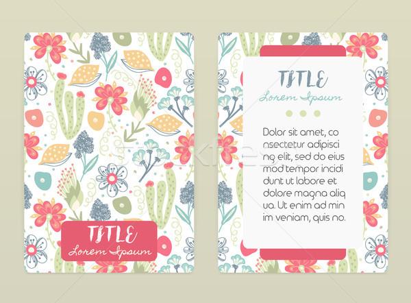 охватывать дизайна цветочный шаблон рисованной Creative Сток-фото © user_10144511