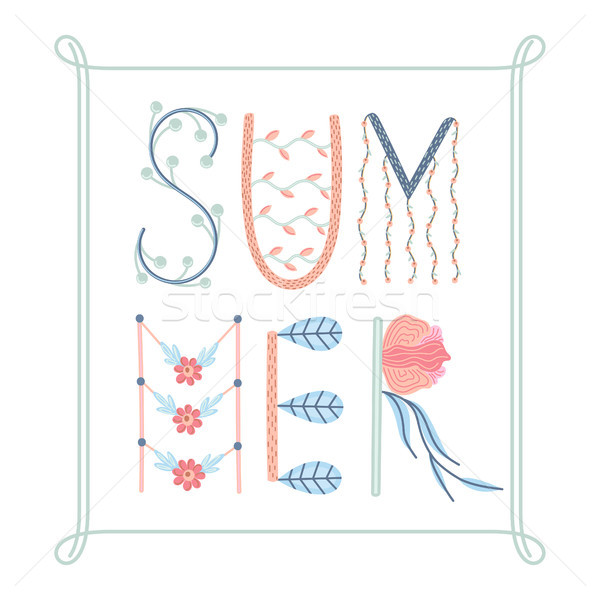 Summer. Creative hand drawn lettering with floral decorations. Summertime. Doodle in frame. Season o Stock photo © user_10144511