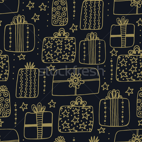 Seamless pattern with hand drawn different gift boxes. Cute design. Creative presents. Happy holiday Stock photo © user_10144511