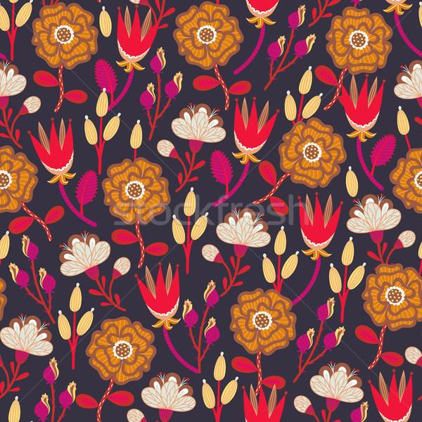 Stock fotó: Virágmintás · végtelen · minta · kézzel · rajzolt · kreatív · virágok · színes