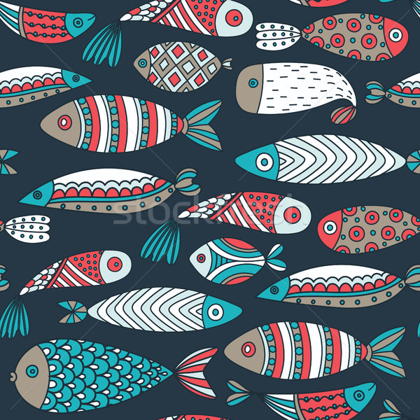 Seamless pattern with fishes. Hand drawn undersea world. Colorful artistic background. Aquarium. Can Stock photo © user_10144511